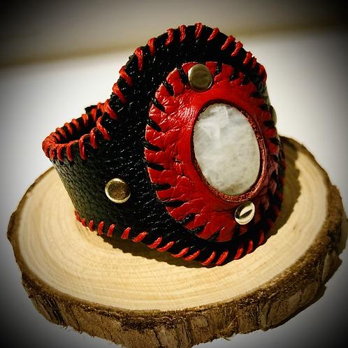 Bracelet cuir noir pierre de lune