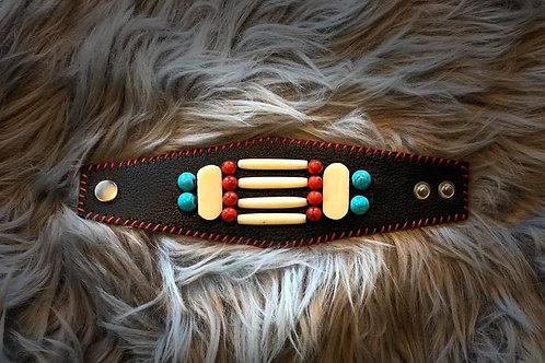 Bracelet Ethnique cuir corail rouge turquoise et os