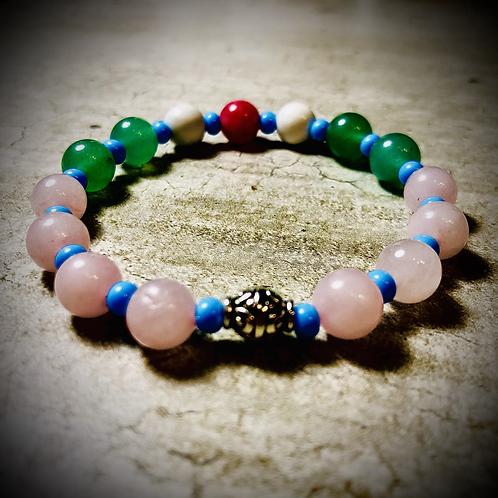 Bracelet artisanal pierres semi précieuses : jade, quartz rose , Howlite