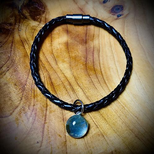 Bracelet artisanal en cuir et LABRADORITE