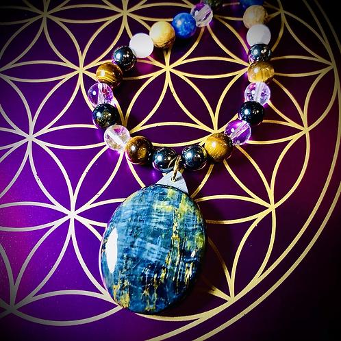 Collier long pendentif Pietersite ,perles en pierres naturelles