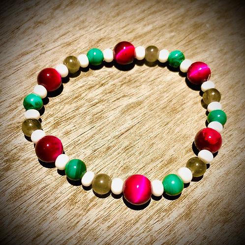 Bracelet artisanal élastique perles naturelles semi précieuses