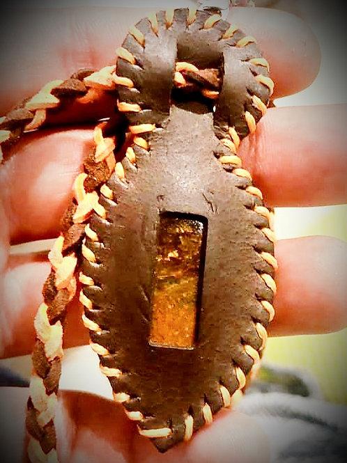 Collier cuir et Bronzite
