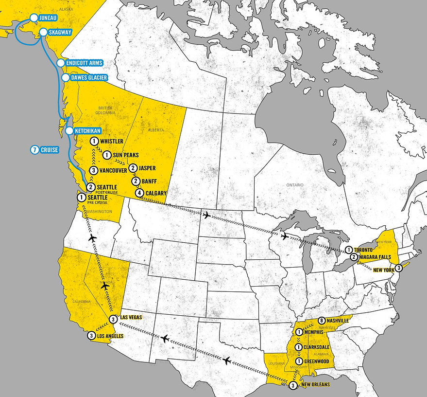 Ultimate North American Music Cities Map