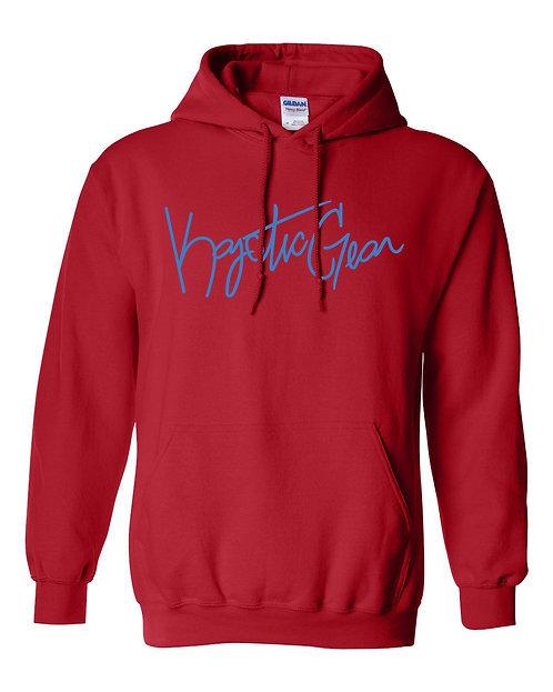 Red Hooded Fleece W/Carolina Blue Font