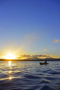 石垣島に沈むサンセット、カヌーから見るサンセット