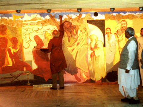 Jatin Das signing the mural during the Inauguration Ceremony with Shri Atal Bihari Vajpayee, the then Prime Minister of India