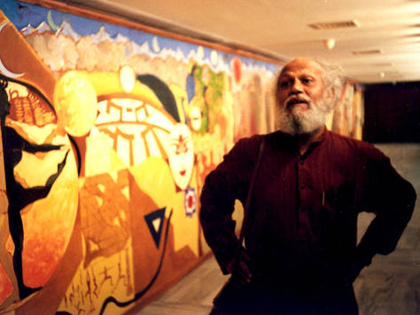 "Artist Jatin Das after finsihing the Mural ""The Journey of India: Mohenjo-Daro to Mahatma Gandhi"""