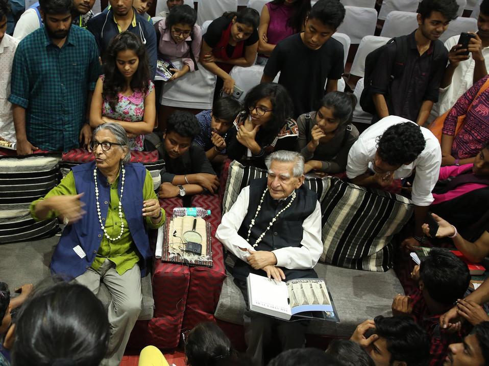 b v doshi and mahendra raj interacting.J