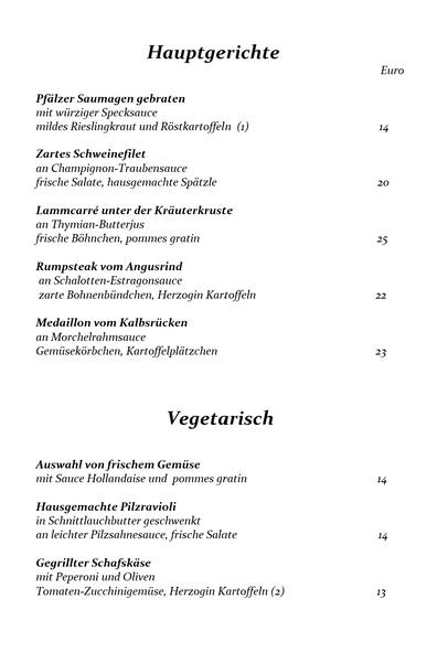 Speisekarte Seite 2