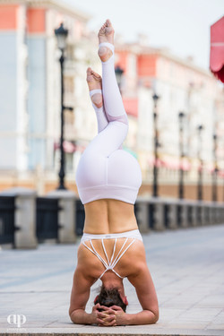 Supported headstand with eagle legs