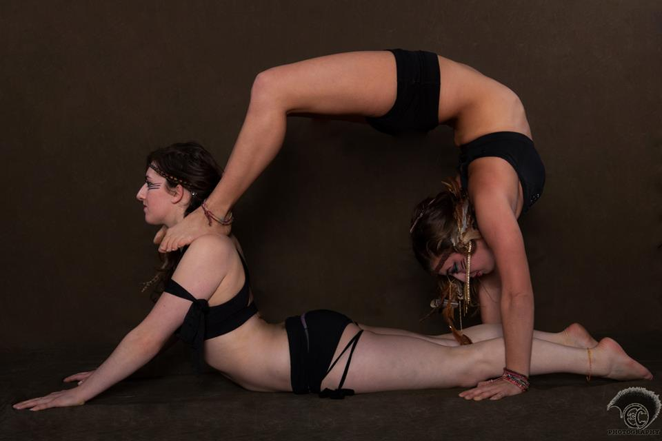 Back bend on snake pose