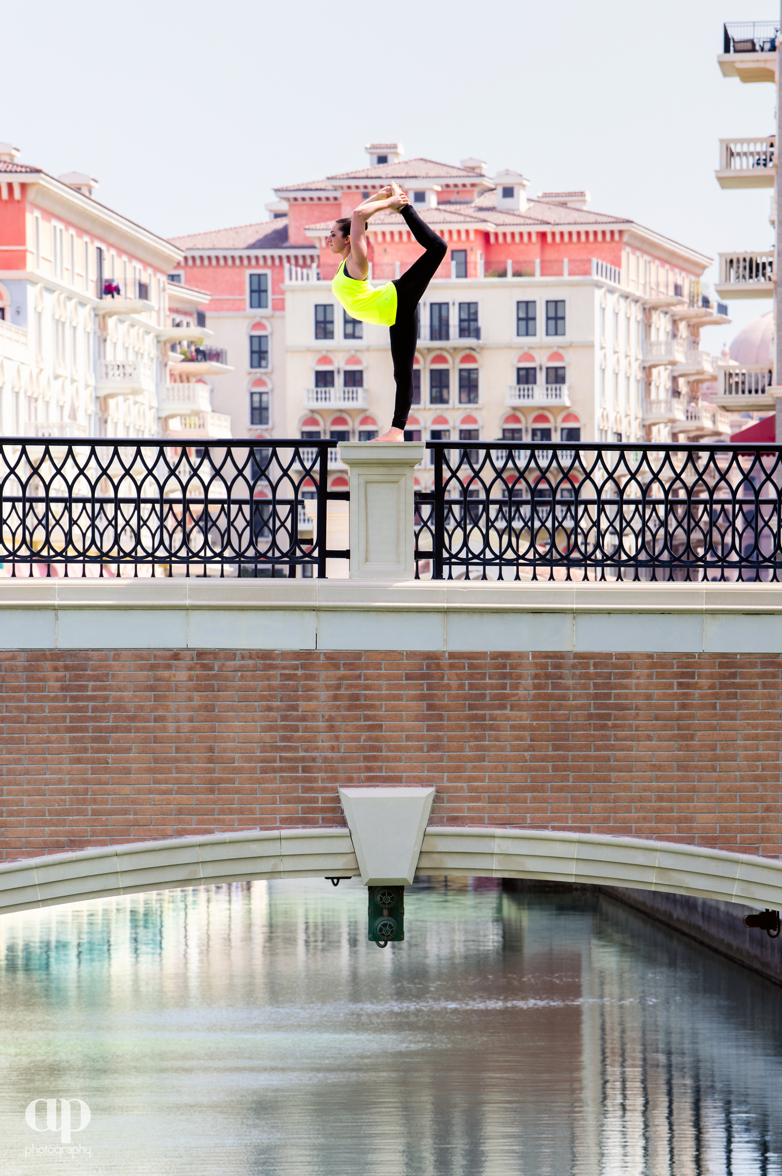 Dancer pose on a bridge