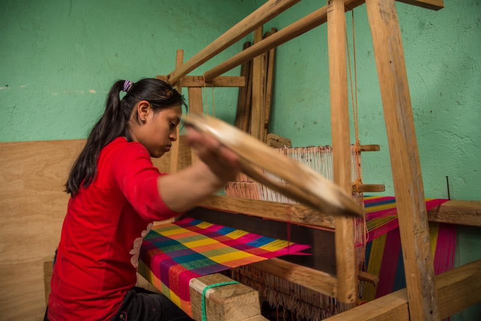 Weaving on a foot loom