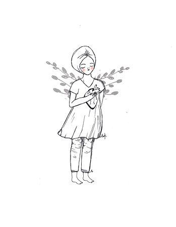 Ilustración de mujer con turbante, vestido y pequeñas alas de planta con la mano derecha sobre su corazón que es visible