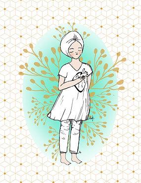 Ilustración de mujer con turbante y vestido blancos con la mano derecha sobre su corazón que es visible