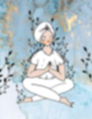 Ilustración de una mujer meditando vestida de blanco con turbante