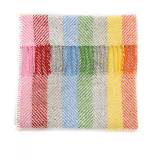 Pram Blanket Rainbow Grey Stripe