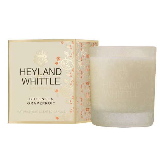 Green Tea & Grapefruit - Large Glass Candle by Heyland & Whittle