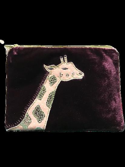 Small Velvet Makeup Bags - Giraffe