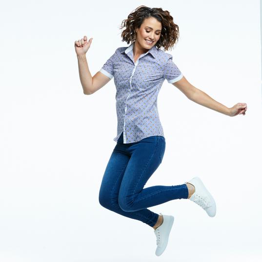 Ladies slim fit blouse in Digital Print fabric
