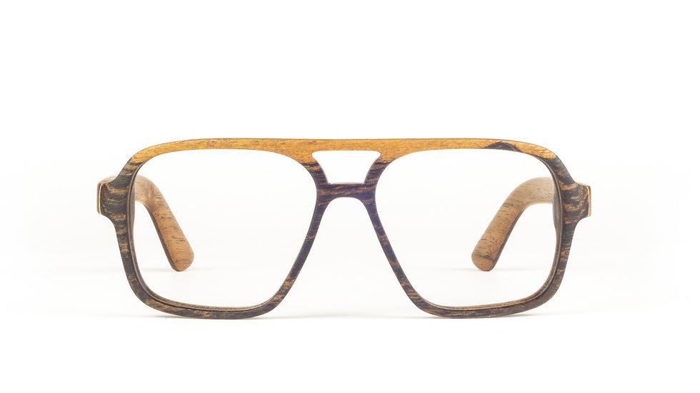LESENA OČALA FJ-PRODUKT OLDIE izdelana iz eksotičnega lesa Bocote spredaj