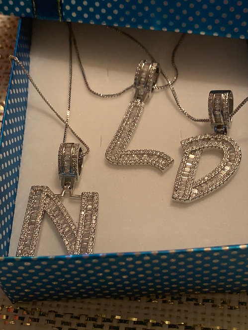 Cz intial necklace  silver tone