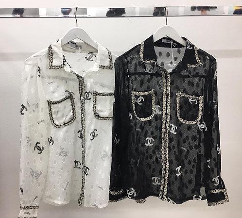 White Stylish CC sheer blouse