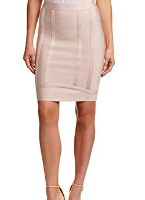 Gracia bandage fitted skirt nude color small only