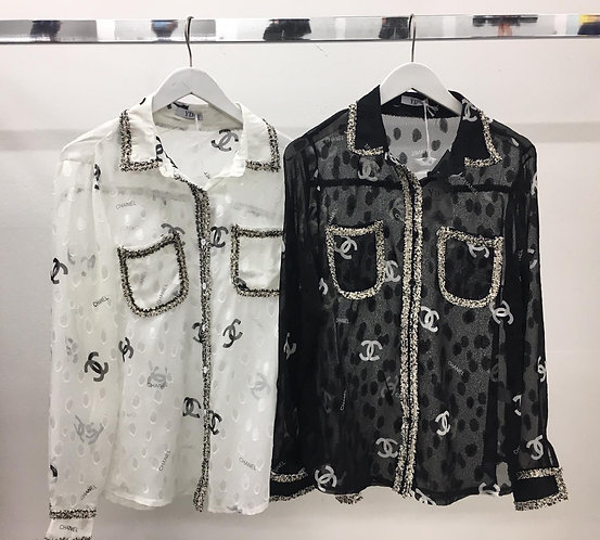 Black stylish CC blouse T19525