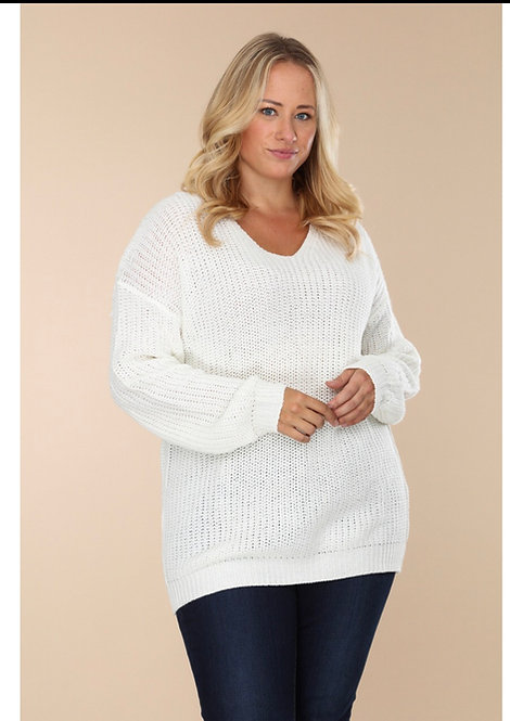 Knit Sweater with Ribbon detail on back SW204XLF