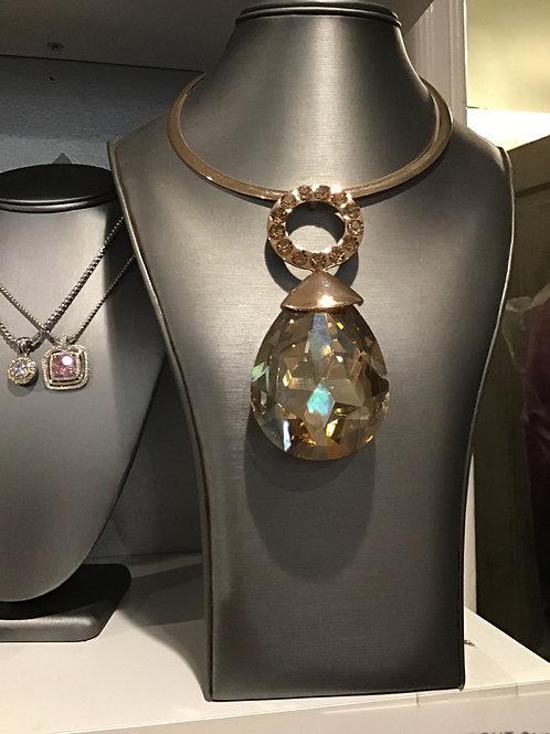 Large double rhinestone necklace set
