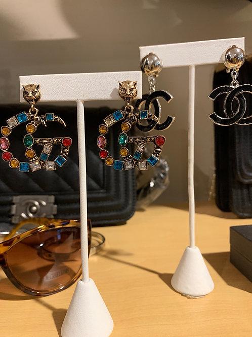 New Large GG rhinestone earrings
