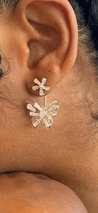 Cz butterfly post 2 pc earrings