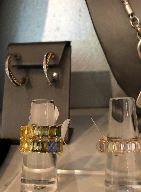Silver bling rhinestone rings