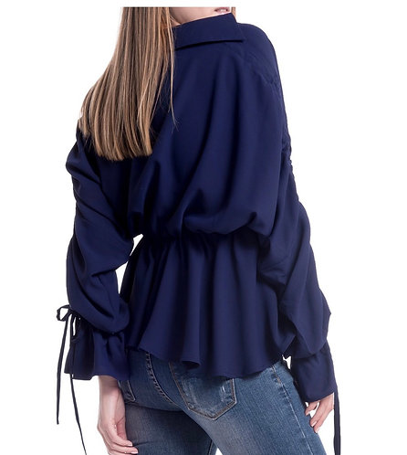 Gracia navy blue gathering blouse T22491 small only