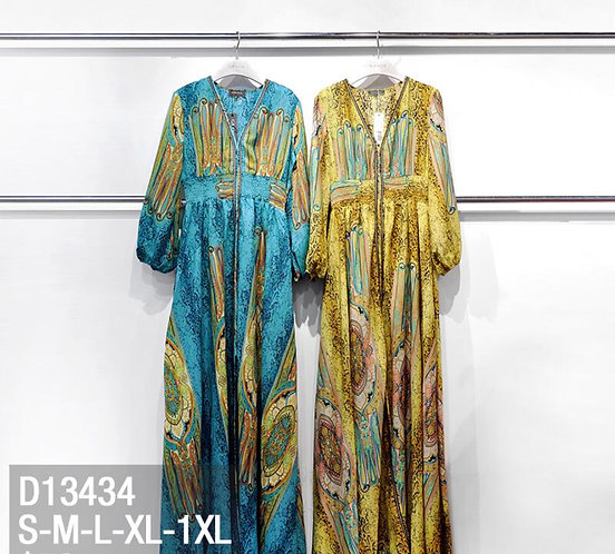Classy printed  Maxi dress Prined V-neck Long Sleeves Maxi Dress D13434 preorder