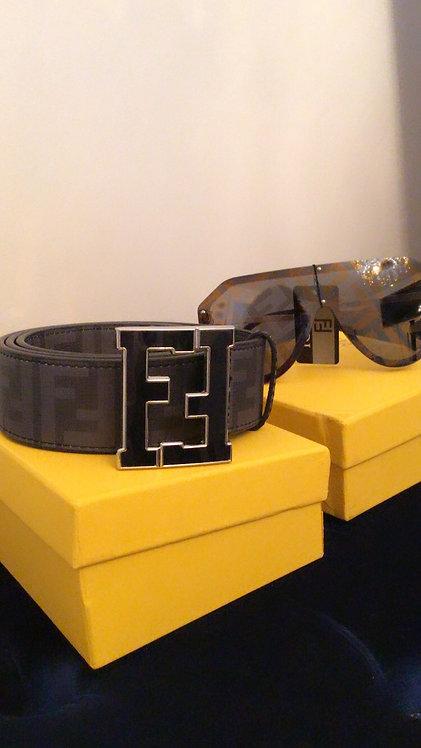 FF Black & Grey monogram belt