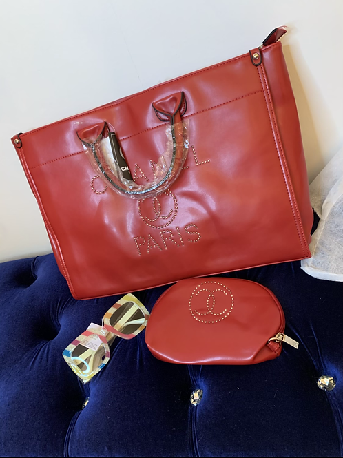 New CC Stud Tote and cosmetic bag