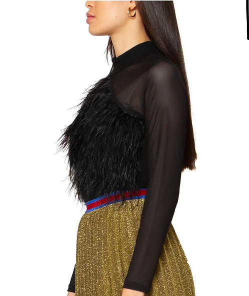 Graci feather see through top T24658