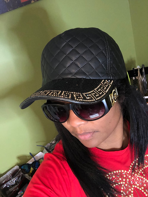 Quilted baseball cap Black and gold bling
