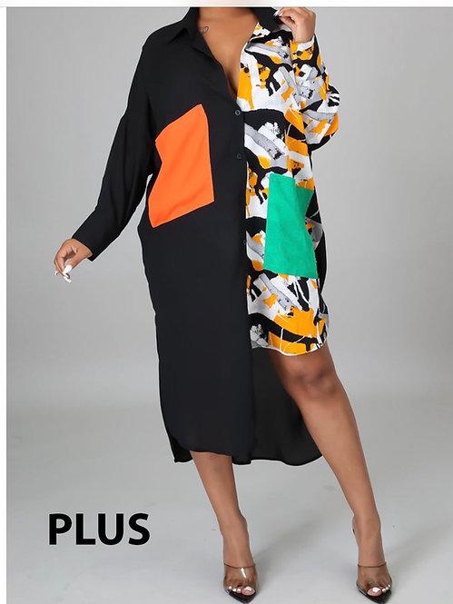 Plus Black patch dress