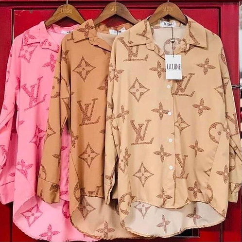 Inspired LV button-up