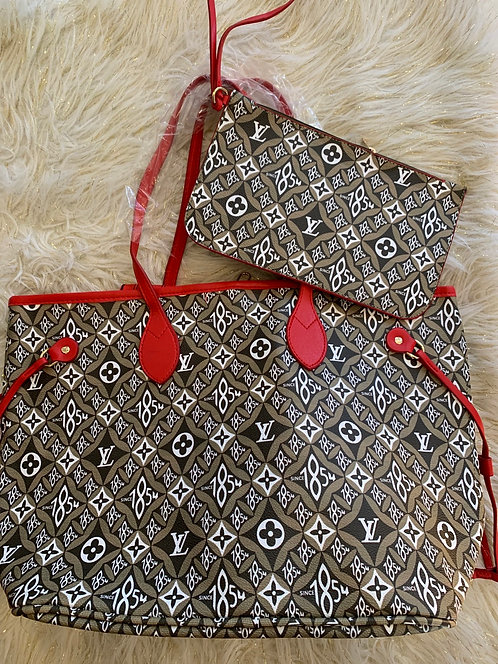New 40156 -2 printed tote olive/red
