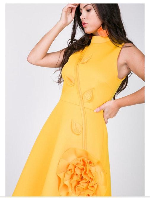yellow3D flower dress