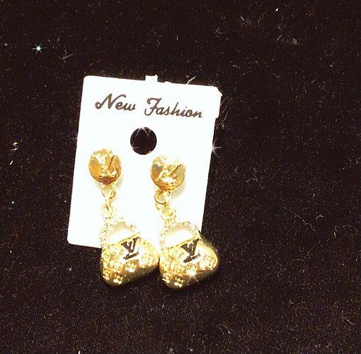 Inspired LV purse dangle earrings gold