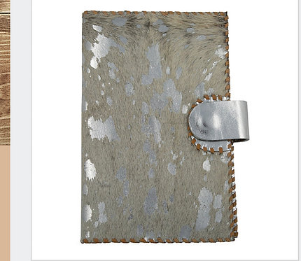 Silver and Golden Hide Leather Passport Wallet SKU: SCB56H