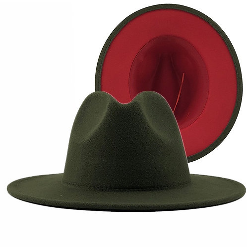 Hunter Fedora  hat green /red in side preorder only