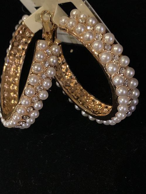 Two layer Pearl medium hoops