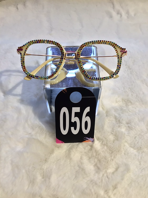Rainbow Bling Cream Glasses 056
